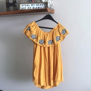 Yellow off the shoulder shirt